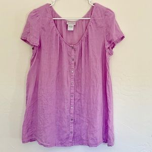 SOFT SURROUNDINGS LINNEN BUTTON UP BLOUSE EUC